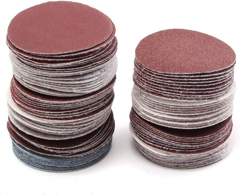 100 PCS WENTS Disques de Pon/çage 50mm Rond Papier de Verre Ponceuse Papier Abrasif de 80//100//180//240//600//800//1000//1200//2000//3000
