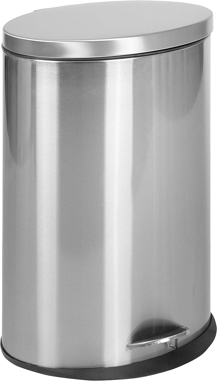 Flash Furniture Stainless Steel Fingerprint Resistant Soft Close, Step Trash Can - 40L (10.6 Gallons)