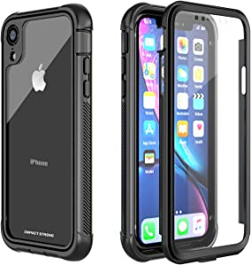 iPhone XR Clear Case, ImpactStrong Ultra Protective Case with Built-in Clear Screen Protector Clear Transparent Full Body Cover for iPhone XR 2018 6.1 inch (Black)