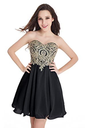 MisShow Juniors Short Homecoming Dress Gold Lace Appliques Prom Gowns ,Black,2