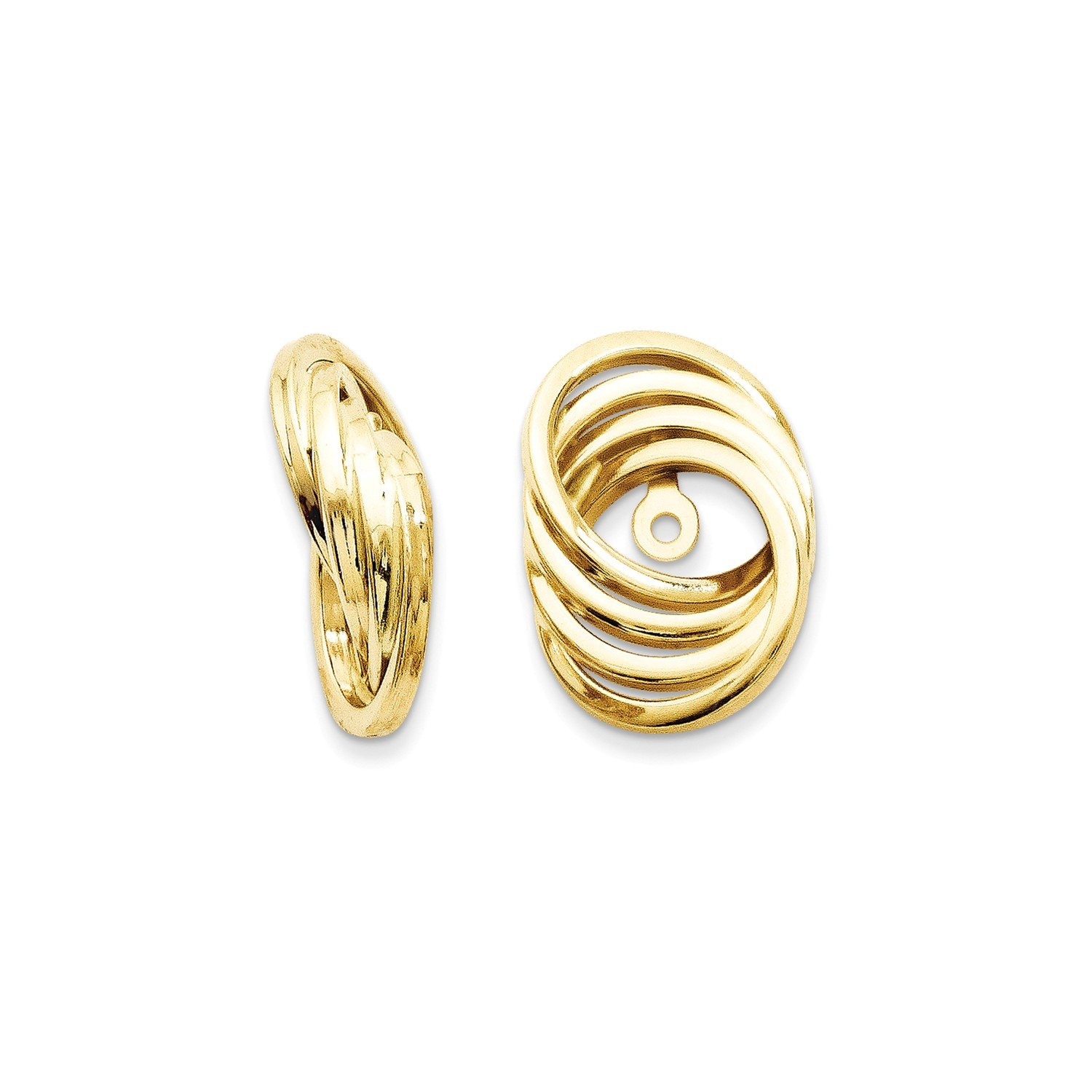 Roy Rose Jewelry 14K Yellow Gold Polished Love Knot Earring Jackets 14mm length