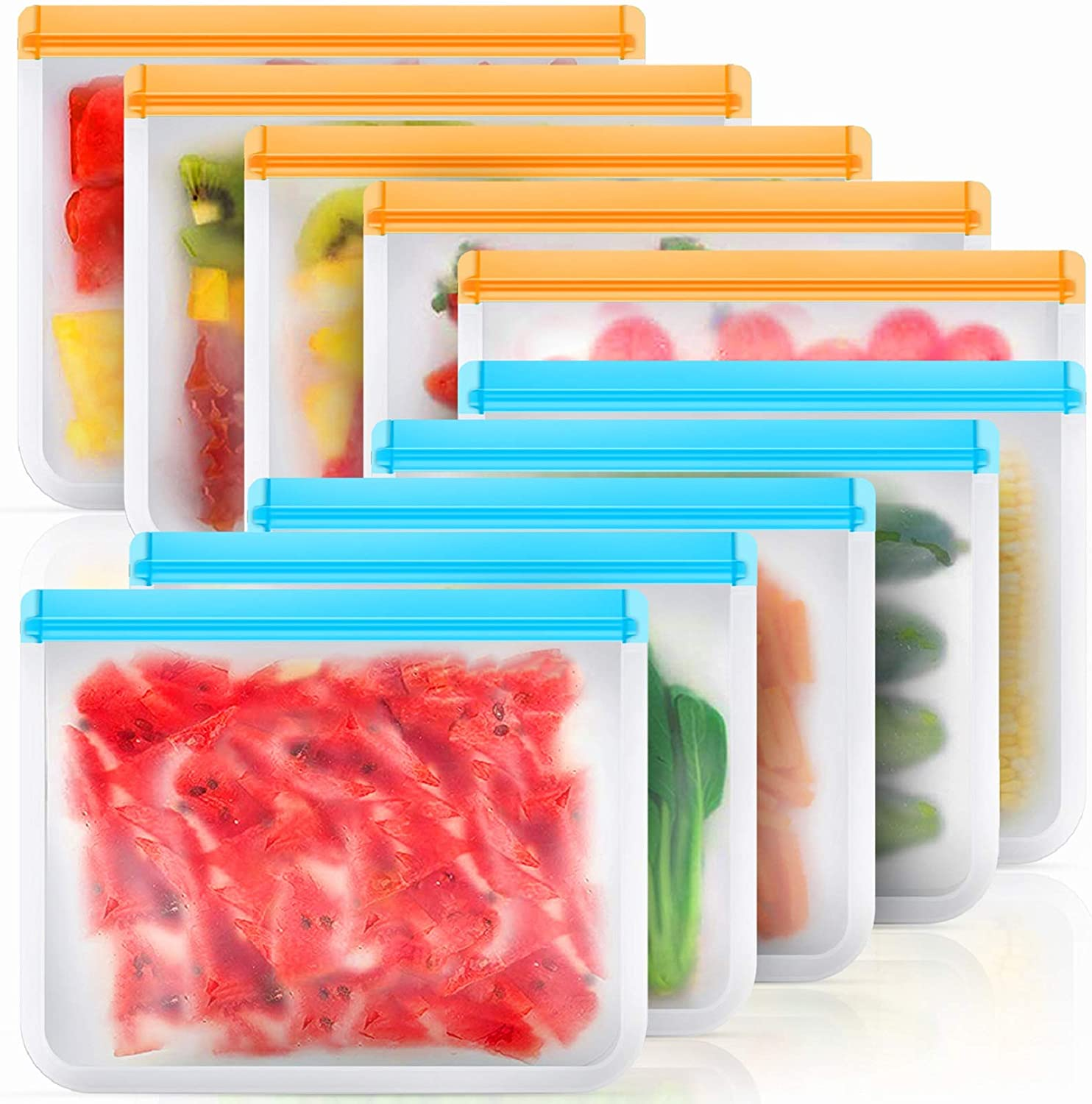 Reusable Storage Bags 10 Pack, BPA Free Reusable Freezer Bags, Large Silicone Food Bags, Reusable Sandwich Bags, Reusable Gallon Bags for Food, Reusable Bags for Lunch Sandwich Snack Meat Fruit …