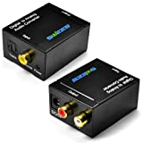 Swees® Audio Convertitore digitale (Toslink e coassiale) ad analogico (RCA) - Digital to Analog Audio Converter con adattatore AC e toslink