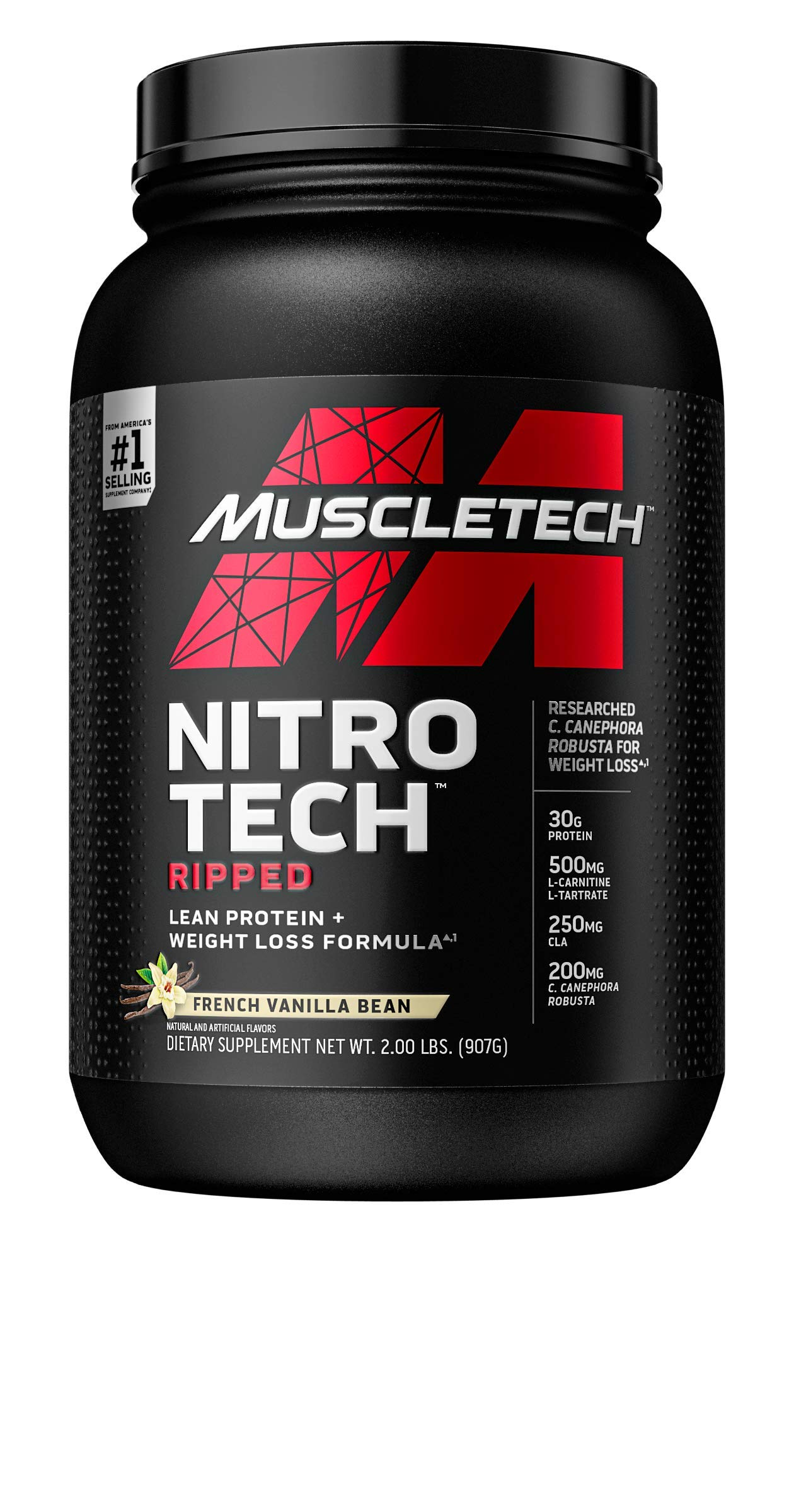 Muscletech Performance Series Nitro-Tech Ripped Supplement, 2 lbs, French Vanilla Swirl