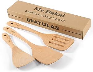 Mr.Dakai Wooden Spatula Utensils Set for Kitchen - Nonstick Wooden Turner, Nonstick Hard Wooden Spatula - Cooking Serving Tool (Pack of 3)