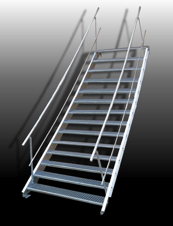15 Escalera de acero Escaleras con doble cara barandilla/Nivel Planta ancho 70 cm/Altura 250 – 320 cm/Incluye Extremos de escaleras de U de perfil + Rejilla de escaleras + Tornillos, Tuercas/mejilla Escaleras