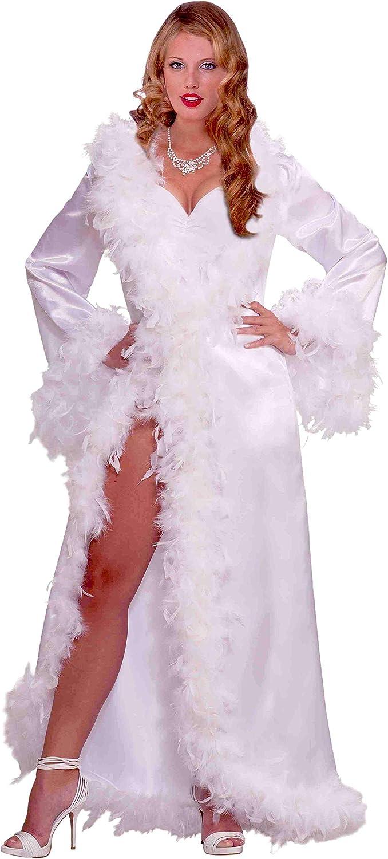 Forum Novelties Vintage Hollywood Marabou Satin Robe, White, Standard: Clothing