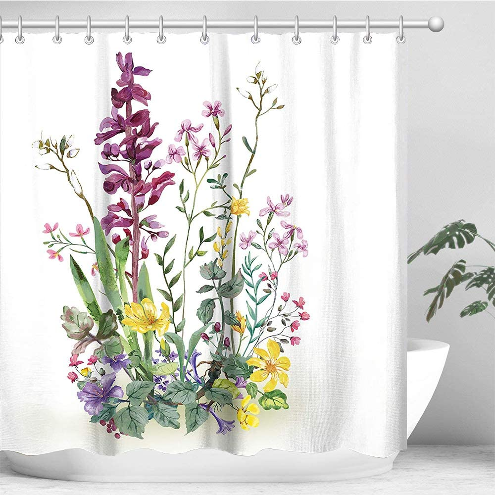 "LIVILAN Floral Shower Curtain Set with 12 Hooks, Decorative Fabric Bath Curtain Modern Bathroom Accessories, Machine Washable, Colorful Hyacinth Purple Flowers and Green Leaves Pattern, 72"" X 72"""