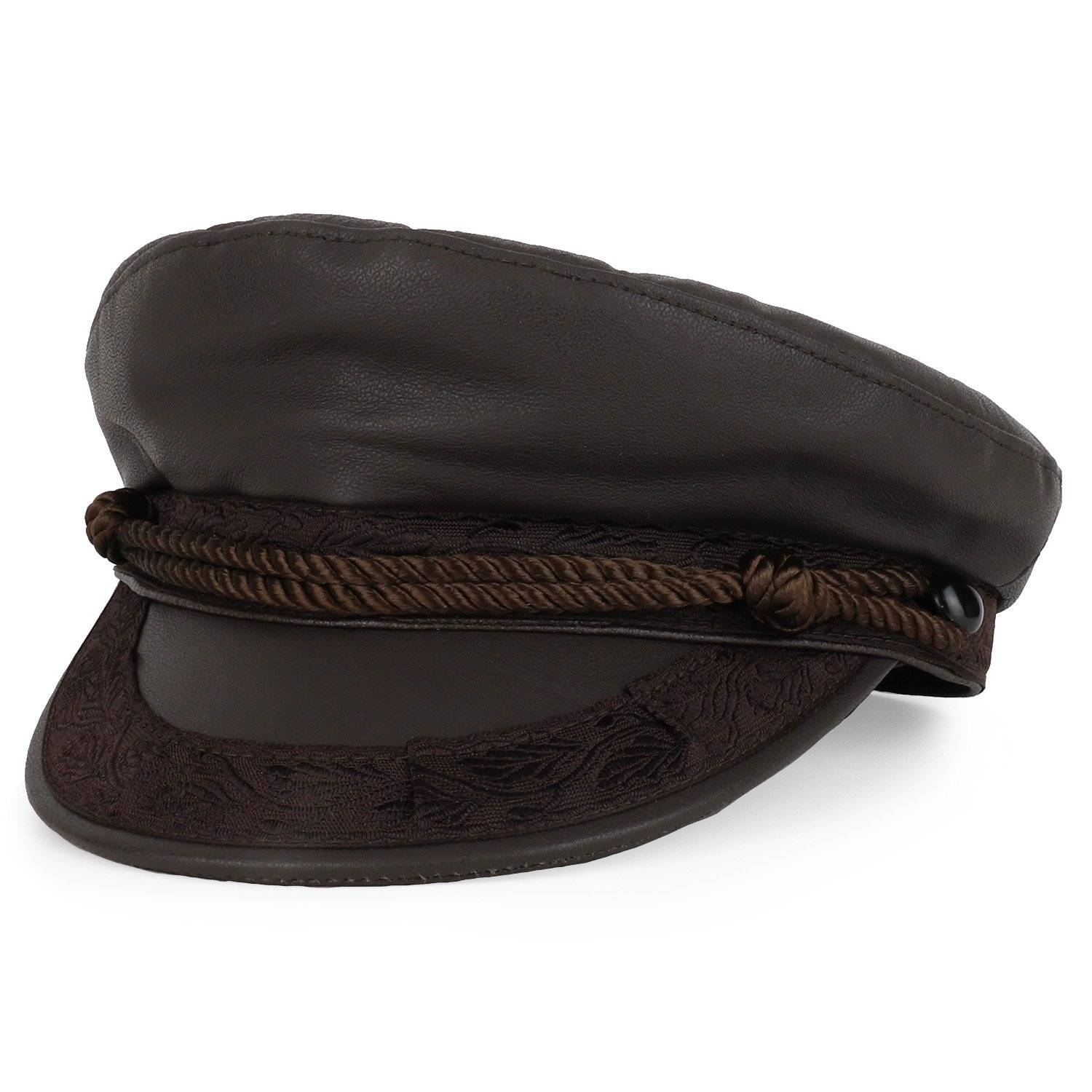 Armycrew Made In USA Genuine Leather Greek Style Rope Band newsboy Fisherman Hat - Brown - L