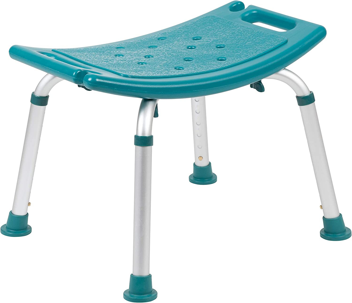Flash Furniture HERCULES Series Tool-Free and Quick Assembly, 300 Lb. Capacity, Adjustable Teal Bath & Shower Chair with Non-slip Feet