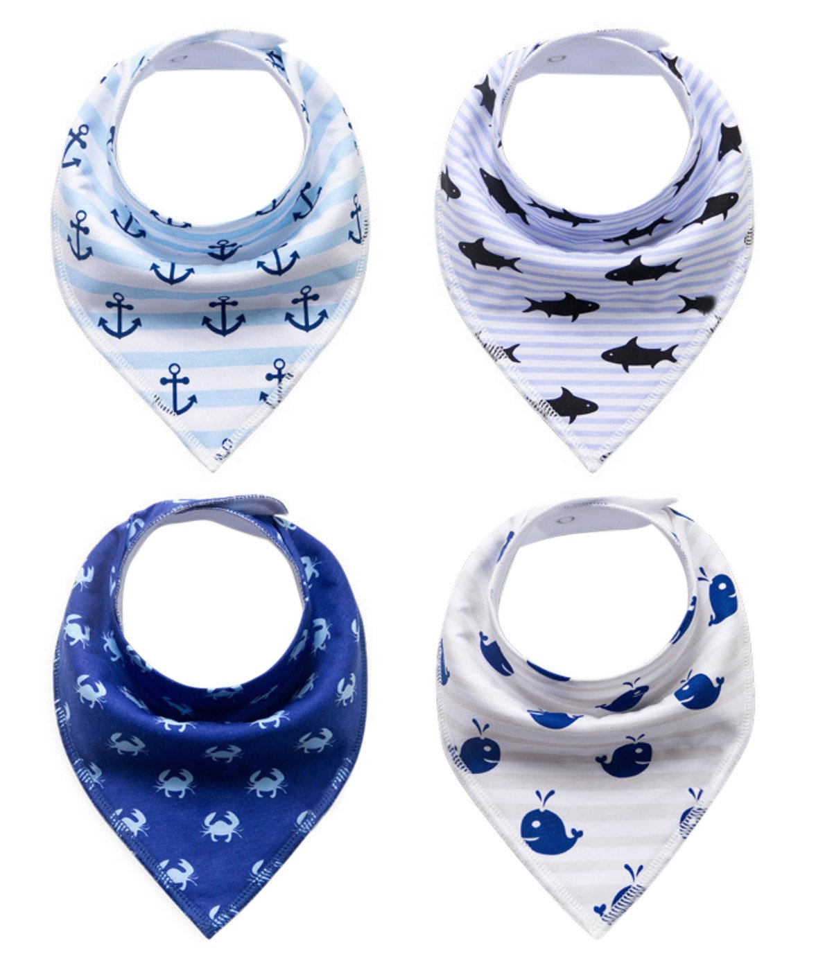 Baby Bandana Drool Bibs Cotton Bibs Cute Ocean Animals Set for Boys Happy Cherry