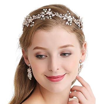 first rate pretty nice cheap Sweetv Fleur Style Or rose de mariage Bandeau Cheveux Mariage Oreillette  Vigne Bijoux