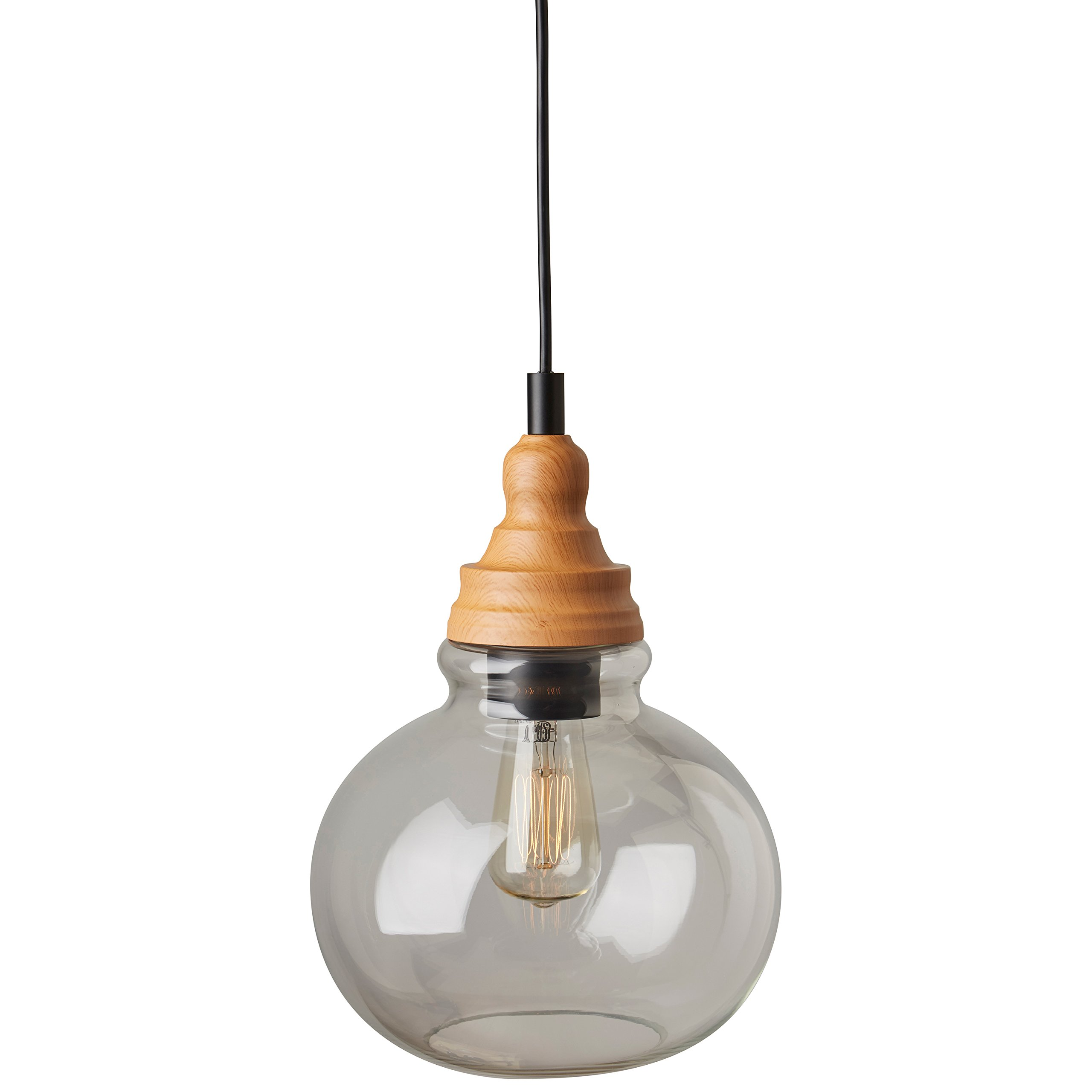 Rivet Glass Pendant With Bulb, 14.25''-60''H, Brown and Black by Rivet (Image #5)