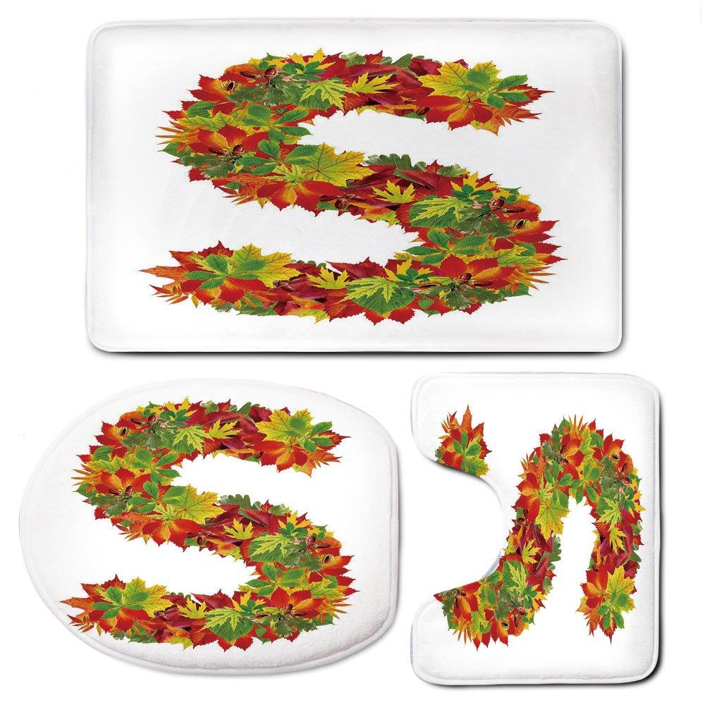 3 Piece Bath Mat Rug Set,Letter-S,Bathroom Non-Slip Floor Mat,Vivid-Seasonal-Growth-Themed-Capital-S-with-Bunch-of-Acorns-Language-School-Theme,Pedestal Rug + Lid Toilet Cover + Bath Mat,Multicolor