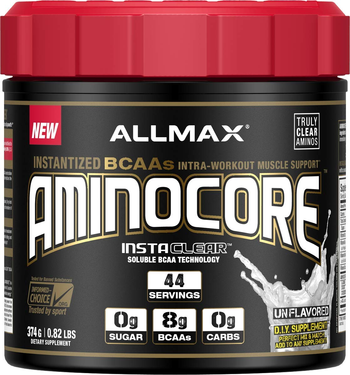 ALLMAX Nutrition Aminocore BCAAs, 100% Pure 45:30:25 Ratio, Unflavored, 374 g