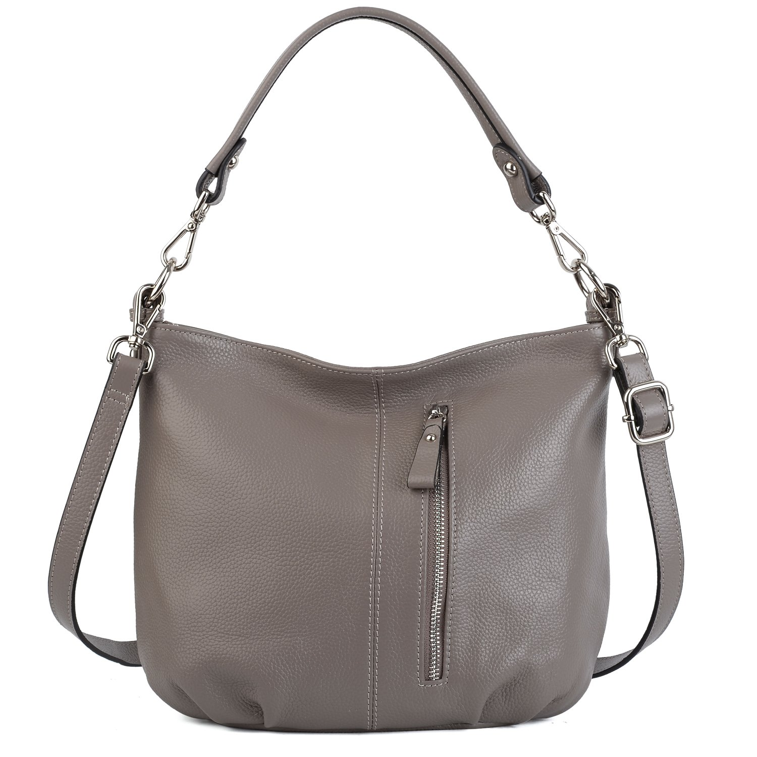 YALUXE Women's Front Pocket Soft Cowhide Leather Small Mini Purse Hobo Style Shoulder Bag Grey
