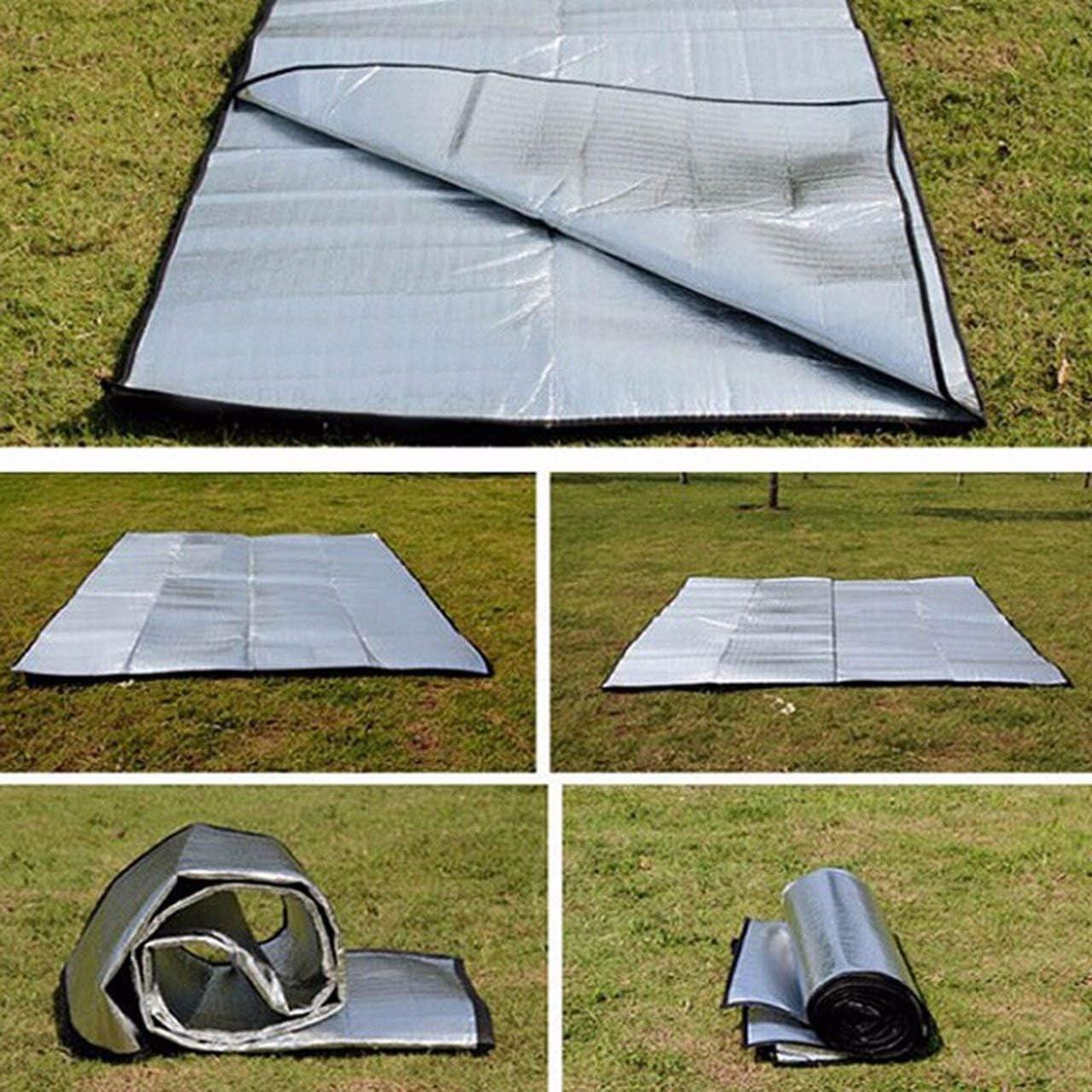 silver Double Sided Foldable Waterproof Aluminum Foil Mat Outdoor Travel Beach Mat Sleeping Mattress for Camping Hiking Jasnyfall