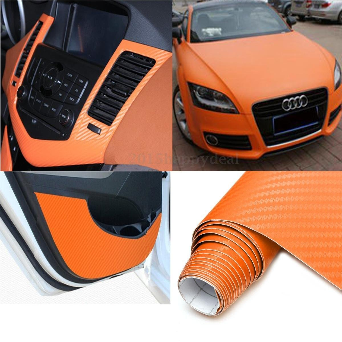 12 x 60 // 1FT x 5FT DIYAH 4D Orange Carbon Fiber Vinyl Wrap Sticker with Air Realease Bubble Free anti-wrinkle