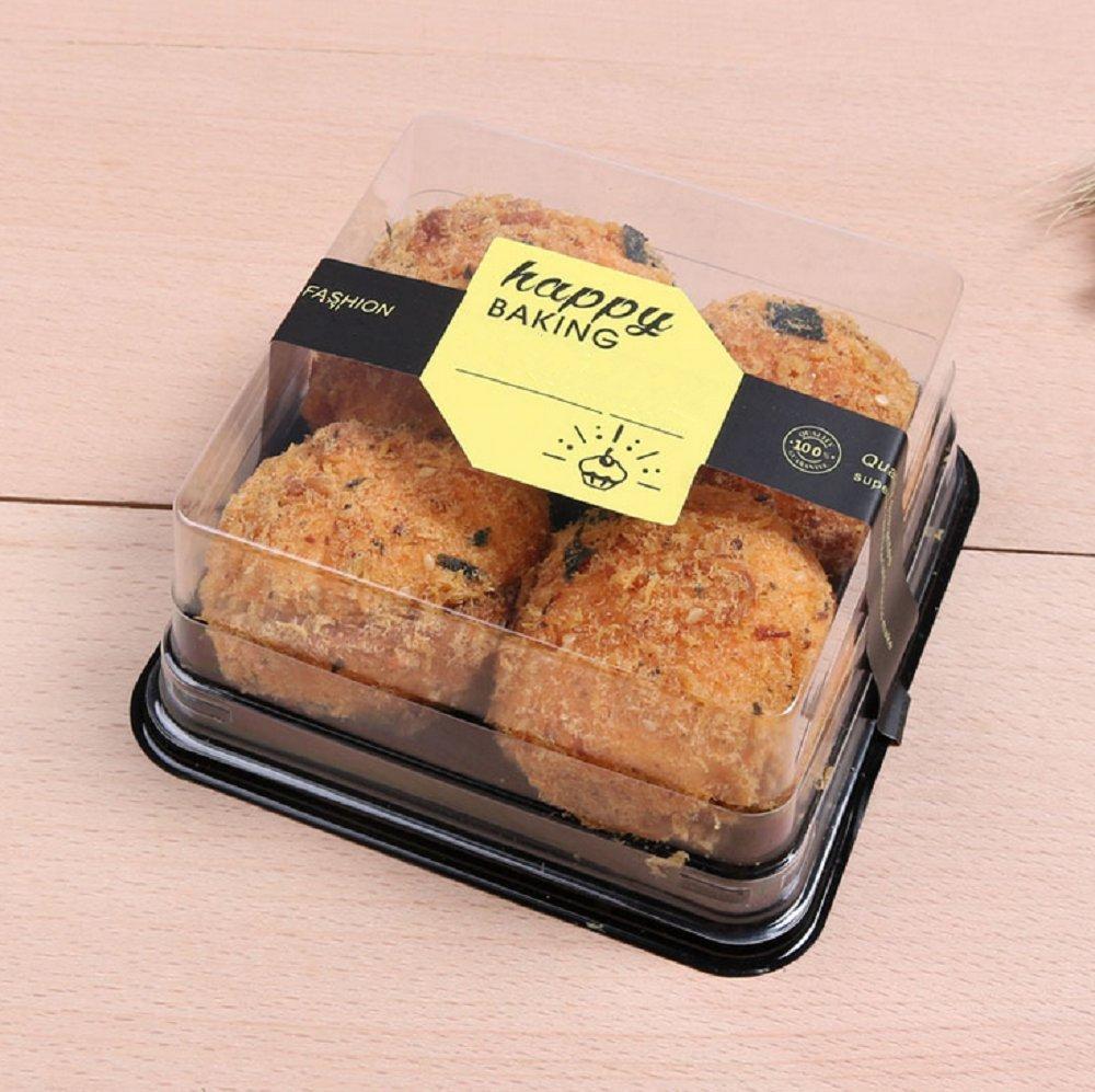 Cake Box - 4'' Transparent Plastic Mini Cake Box - Feast Cupcake Box - Muffin Box Biscuit Box Flat Top Box Bakery Cake Shop Sale Use (black) by Hewnda (Image #5)
