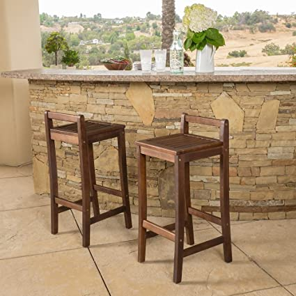 Amazon.com: Riviera Acacia Wood Bar Stool (Set of 2) Chair Brown ...