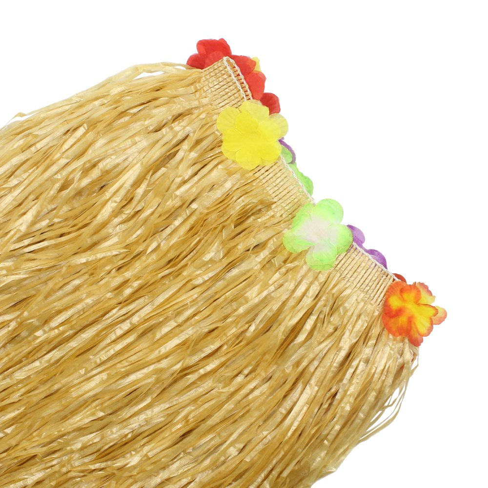 BAKHUK 1Pack 9ft Hawaiian Table Hula Grass Skirt with Little Flowers and 30Pcs Hibiscus Flowers for Tabletop Decoration, Party Decoration, Birthdays, Celebration by BAKHUK (Image #7)