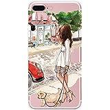Custodia iPhone 7 plus, Vanki Cover iPhone 7 plus Silicone Trasparente TPU Flessibile Sottile Bumper Case per Apple iPhone 7 plus - Mädchen in Europa und Amerika