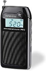 Retekess PR12 Mini AM FM Radio, Portable Pocket Radio, Walkman Radio