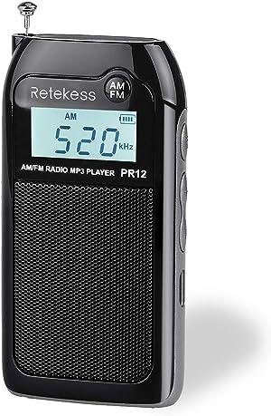 Retekess PR12 Mini AM FM Radio, Portable Pocket Radio, Walkman Radio with SD Card, Clear Display and Earphone Jack for Jogging and Gym(Black)