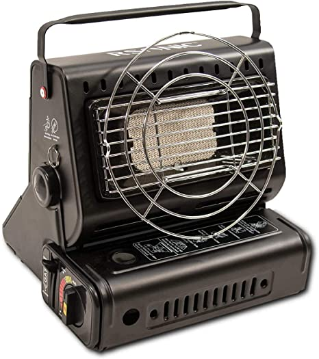 Rsonic-Campter - Calefactor de gas portátil 2 en 1, con rotación de 90°, quemador de cerámica, 1,3 kW, calefactor de gas, para exteriores, camping, ...