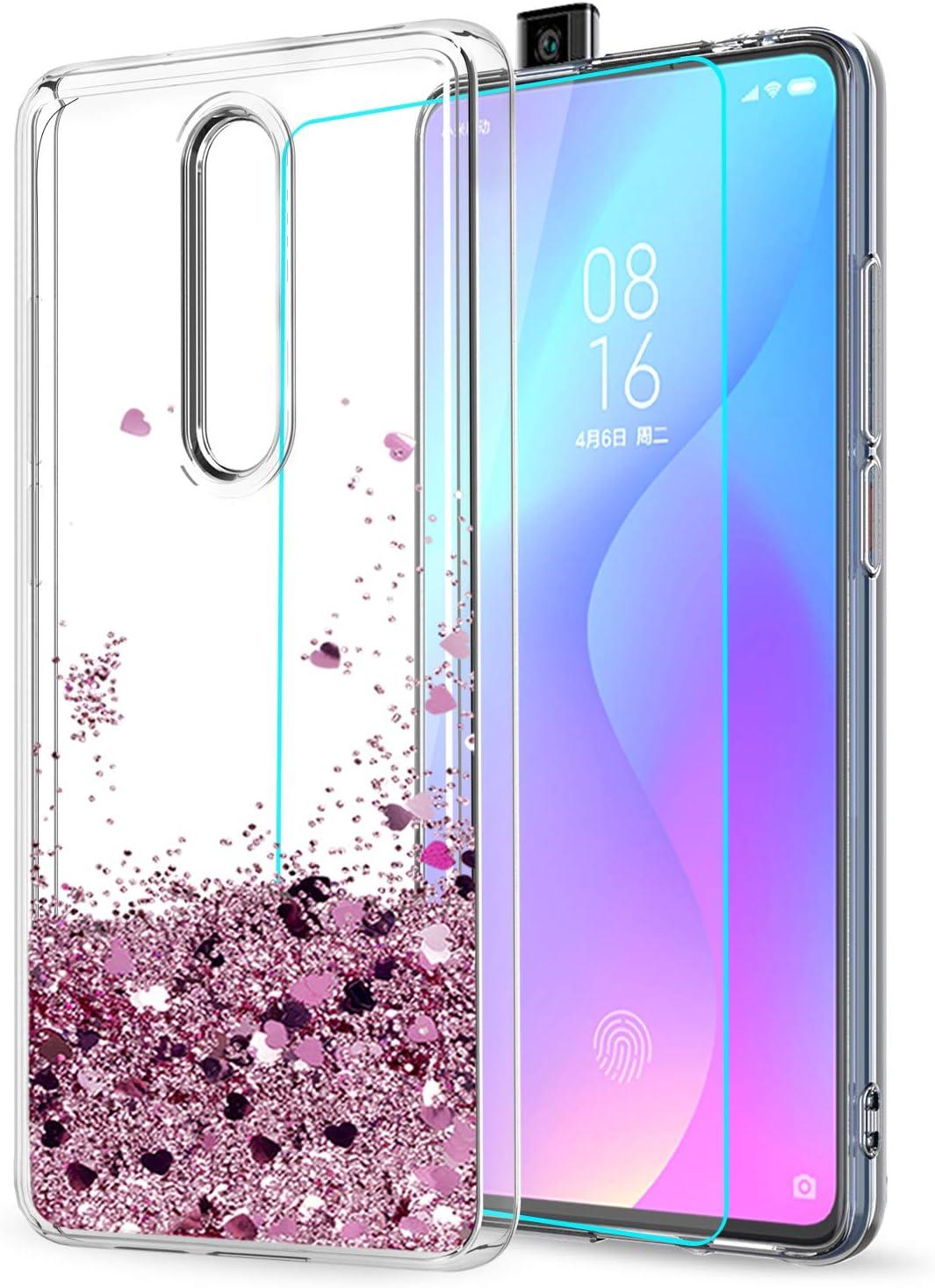 LeYi Funda Xiaomi MI 9T / MI 9T Pro ,Funda Xiaomi Redmi K20 / K20 Pro Silicona Purpurina Carcasa con HD Protectores de Pantalla Transparente Bumper Gel TPU Case Cover para Movil Redmi K20 ZX Oro Rosa