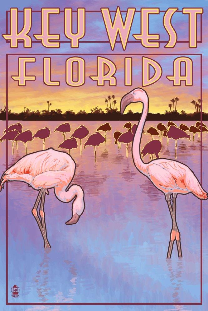 Key West, Florida - Flamingos (12x18 Art Print, Wall Decor Travel Poster)