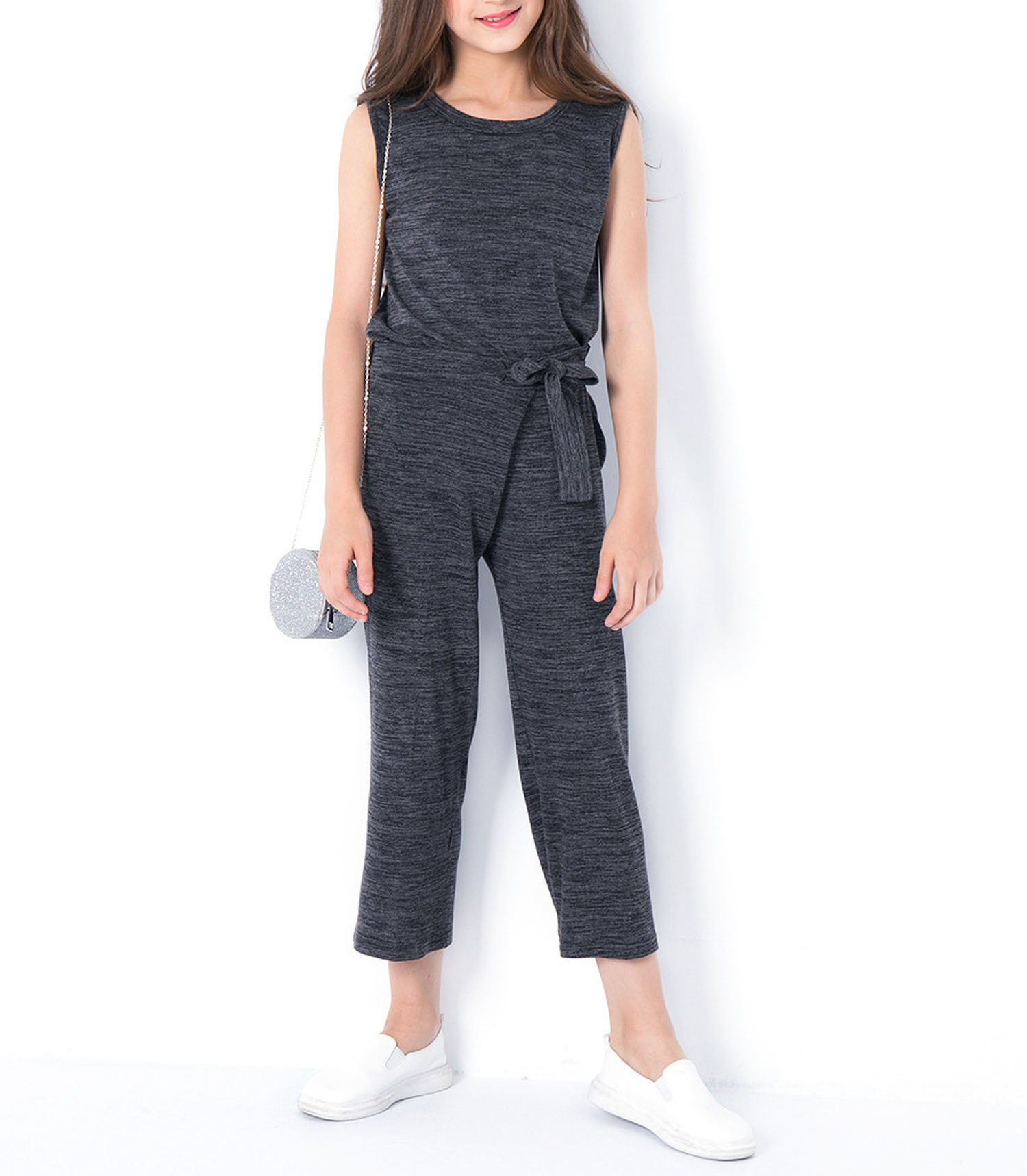 Zcaosma Teen Girls Clothing Two-Piece Girls Outfit Tops Pants Girls Clothing Set,Gray,6
