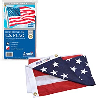 product image for Annin Flagmakers Model 2270 American Flag Nylon SolarGuard NYL-Glo, 5x8 ft, 100% Made in USA with Sewn Stripes, Embroidered Stars and Brass Grommets