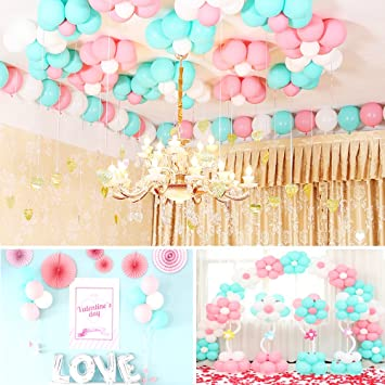 Geekper 100Pcs Party Balloons 10inch Tiffany Blue Pink White Hand Held Air Inflator 22