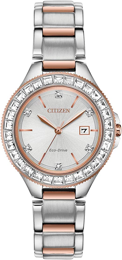 Citizen Eco-Drive Classic Quartz Womens Watch, Stainless Steel, Crystal, Two-Tone (Model: FE1196-57A)
