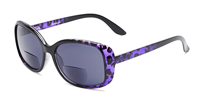 Readers.com | The Cassia Bifocal Reading Sunglasses +1.25 Purple Leopard with Smoke Square Stylish Women's Full Frame