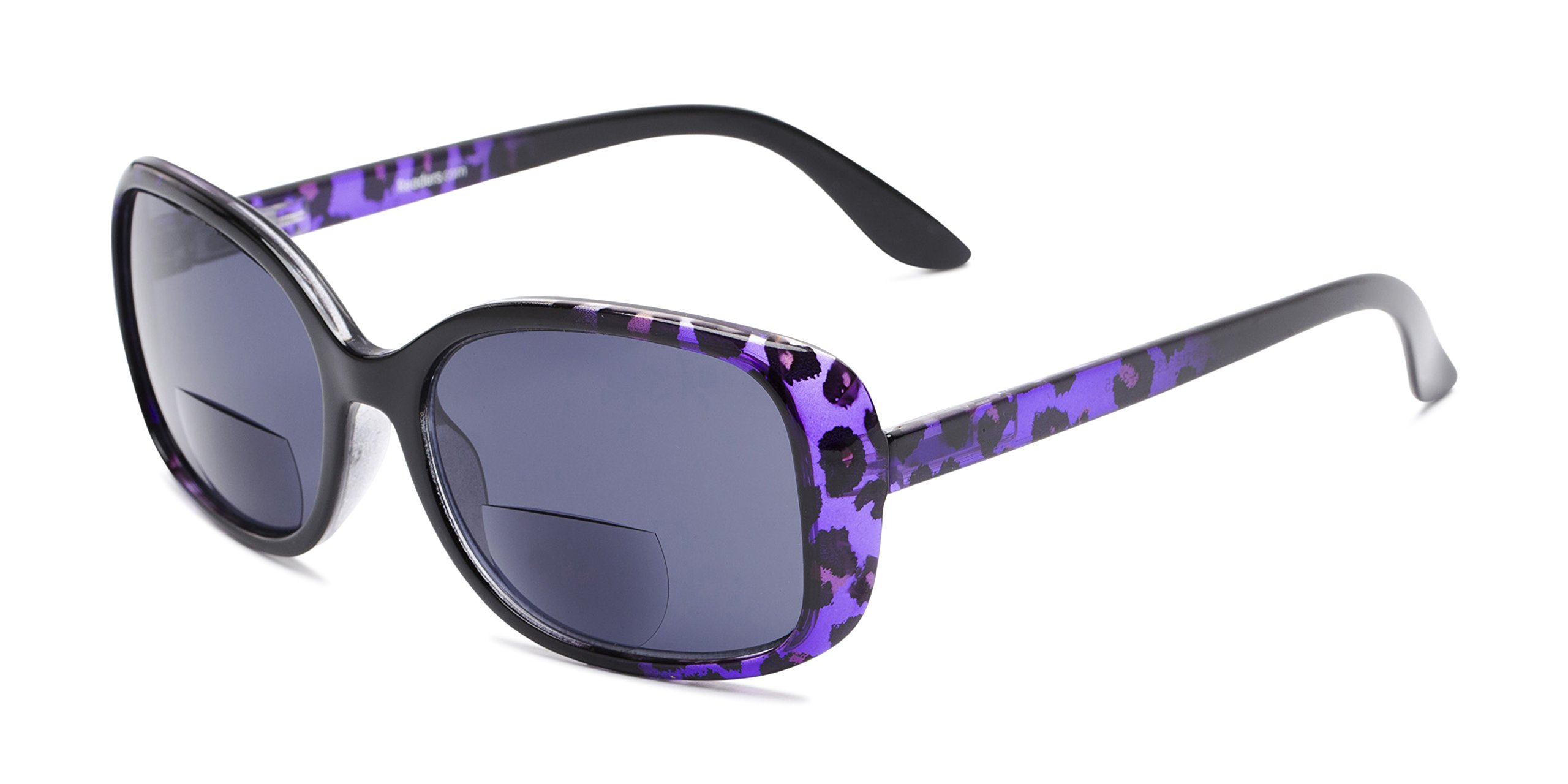 The Cassia Bifocal Sun Reader +2.50 Purple Leopard with Smoke Reading Sunglasses