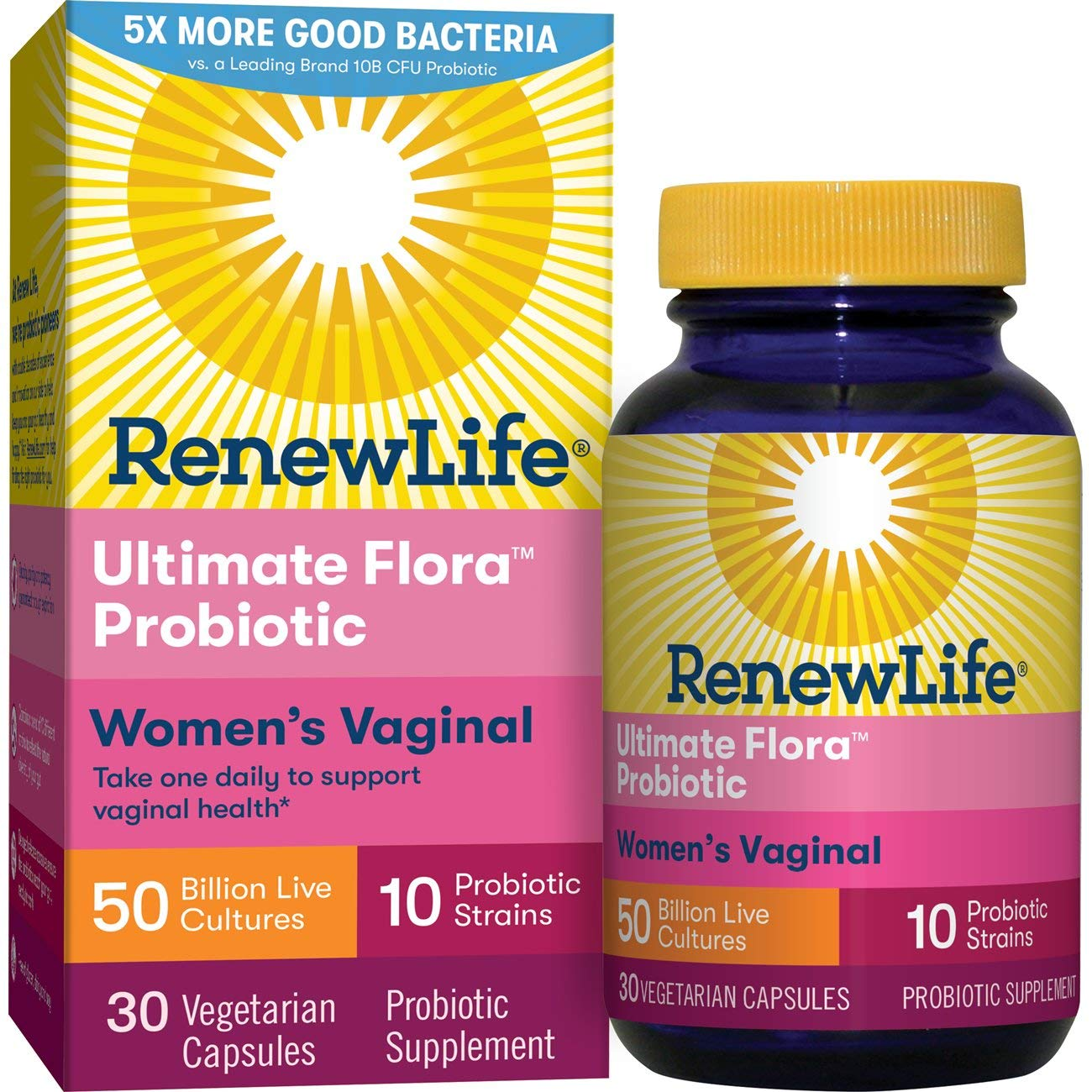 Renew Life Women's Probiotic - Ultimate Flora  Women's Vaginal Probiotic Supplement - Gluten, Dairy & Soy Free - 50 Billion CFU - 30 Vegetarian Capsules by Renew Life