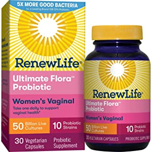 Renew Life Women's Probiotic - Ultimate FloraWomen's Vaginal Probiotic Supplement - Gluten, Dairy & Soy Free - 50 Billion CFU - 30 Vegetarian Capsules