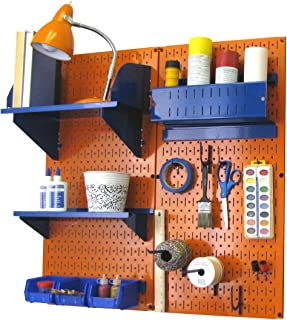 product image for Wall Control Pegboard Hobby Craft Pegboard Organizer Storage Kit with Orange Pegboard and Blue Accessories