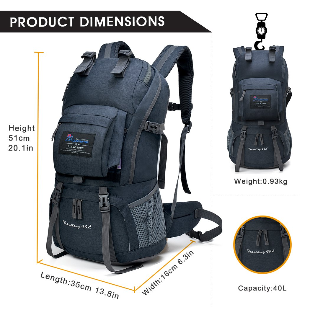 7942cd3dd2 Amazon.com   MOUNTAINTOP 40L Hiking Backpack for Outdoor Camping   Sports    Outdoors