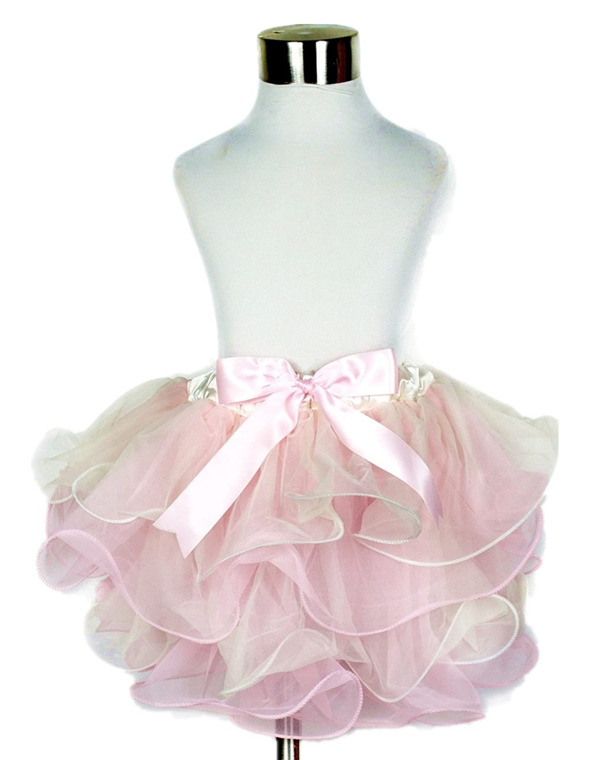 7007e1f23 Beige Light Pink 4 Layers Petal Skirt Dress Tutu Girl Clothing Nb-8y