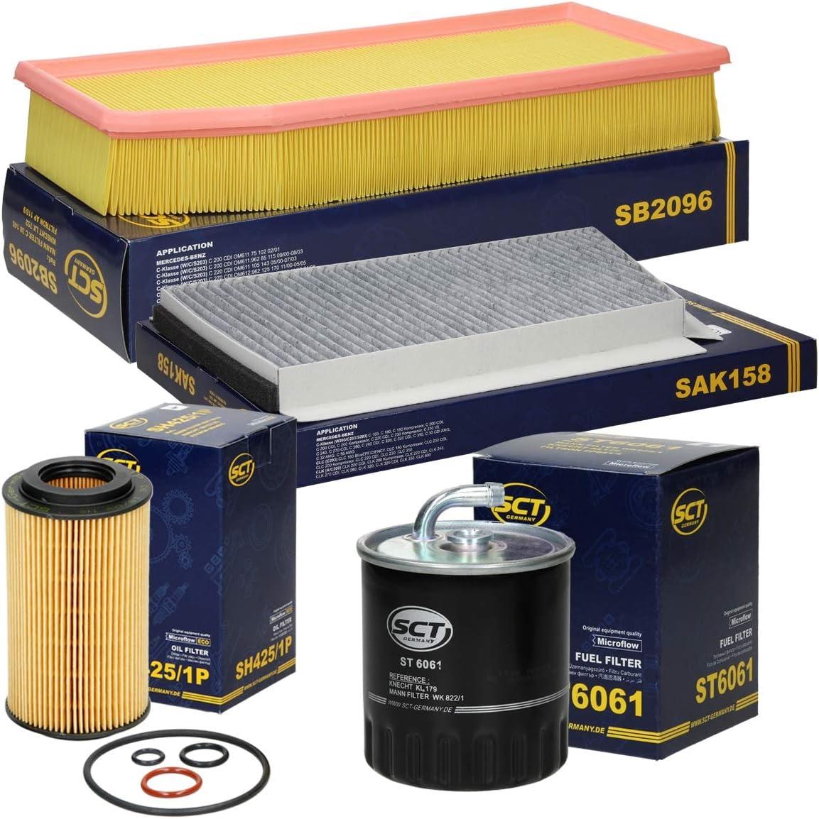 Inspektionspaket Wartungspaket Filterset 1 X Kraftstofffilter Dieselfilter 1 X Innenraumfilter Mit Aktivkohle 1 X Luftfilter 1 X Ölfilter Inkl Dichtungssatz Auto