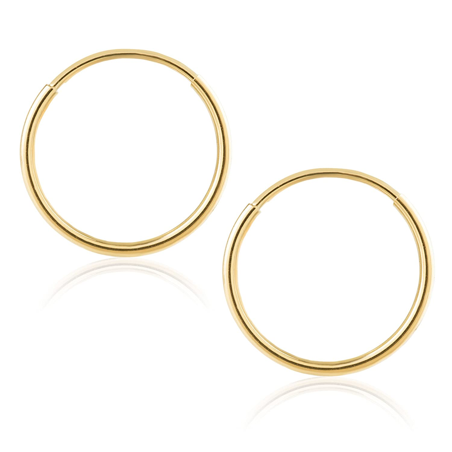 b23bcce558026 14k Yellow Gold Women's Endless Tube Hoop Earrings 1mm-1.5mm Thick 10mm -  60mm Diameter