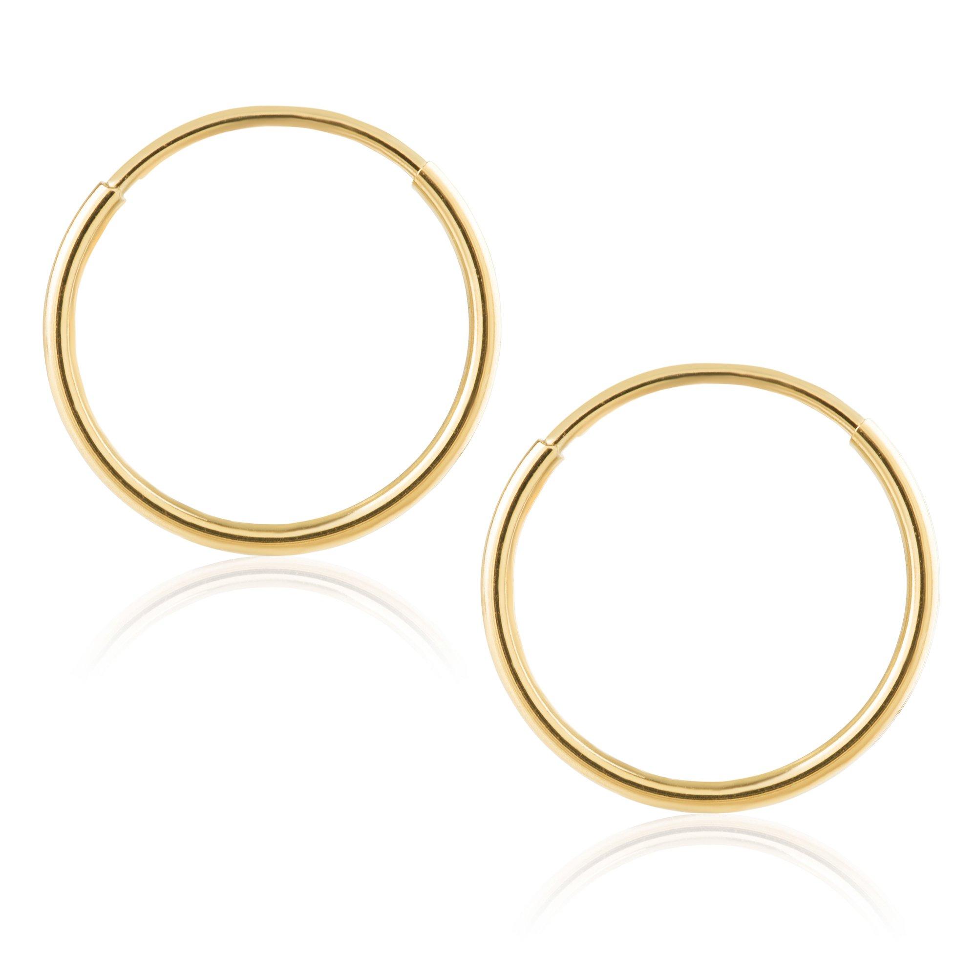 14k Yellow Gold Women's Endless Tube Hoop Earrings 1mm-1.5mm Thick 10mm - 60mm Diameter
