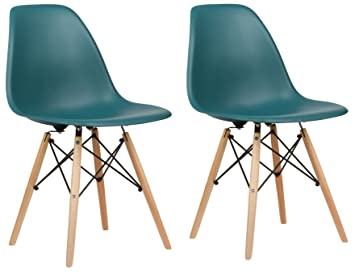 poly and bark eames style molded plastic dowel leg side chair teal