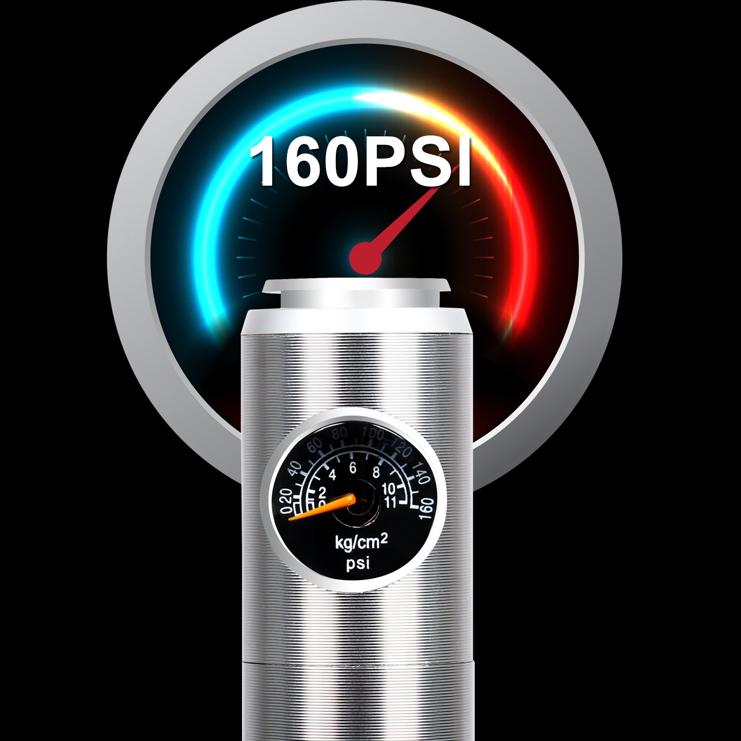 ICOCOPRO Mini Bike Pump with Digital Gauge-Reliable Hand Air Pump-Compatible Schrader Presta Bicycle Tire Pump-Lightweight & Powerful by ICOCOPRO (Image #2)