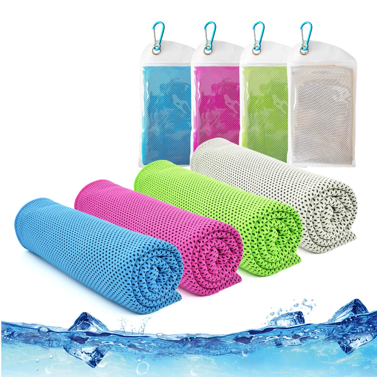 Cooling Towel,Vinsco 4 Pack Cool Towels Microfiber Chilly Ice Cold Head Band Bandana Neck Wrap (40''x 12'') for Athletes Men Women Youth Kids Dogs Yoga Outdoor Golf Running Hiking Sports Camping Travel