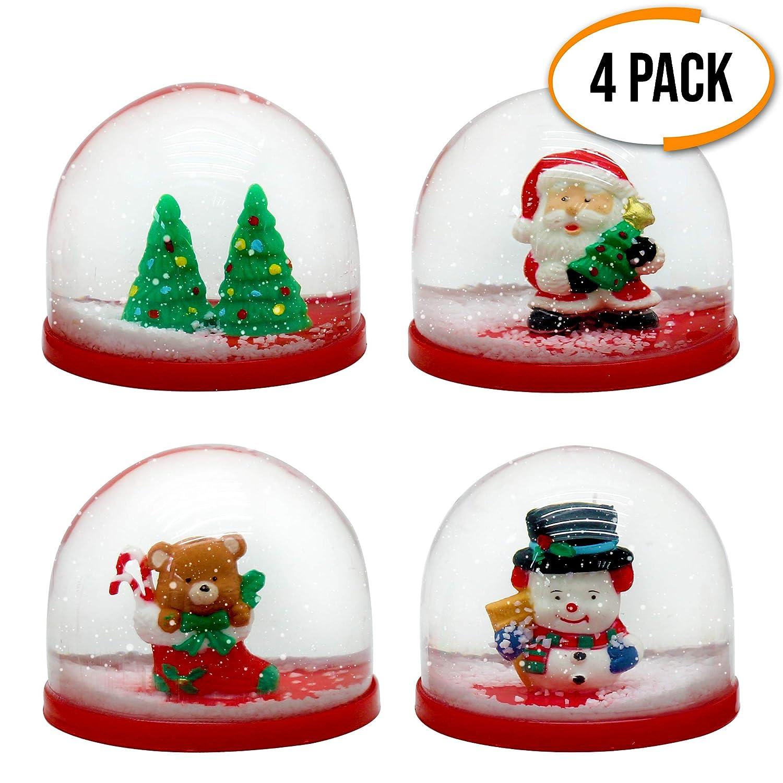 The Twiddlers 4 Mini Palle di Neve Natalizie - 4 Disegni Assortiti - Perfette Come regalini per riempire Borse da Festa, Calze, pentolacce