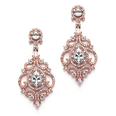 Amazon.com: Mariell Victorian Scrolls 14k Rose Gold Plated Cubic ...